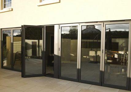 Black aluminium evolution bifold door