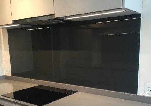 Black kitchen glass splash back