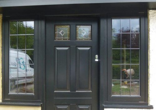 Black timber flush sash windows