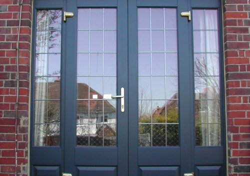 Black timber french door