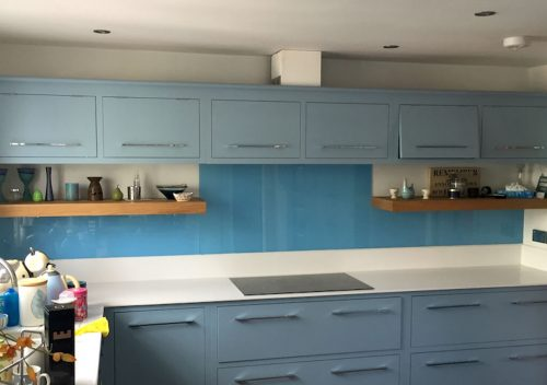 Blue kitchen glass splash back