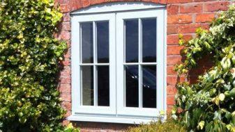 Blue uPVC timber effect window