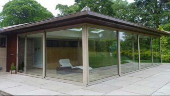 Brown aluminium Sunflex patio doors