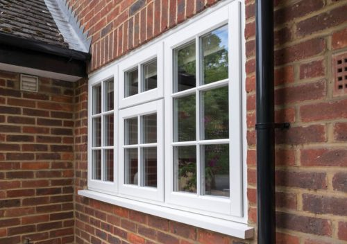 Close up of a timber effect casement window