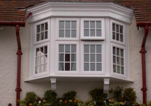 Classic white uPVC bay window