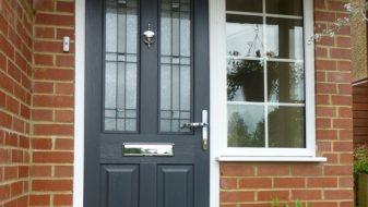 Grey composite entrance door