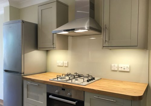 Cream kitchen glass splash back
