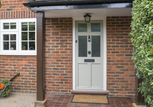 Cream PVC timber alternative entrance door