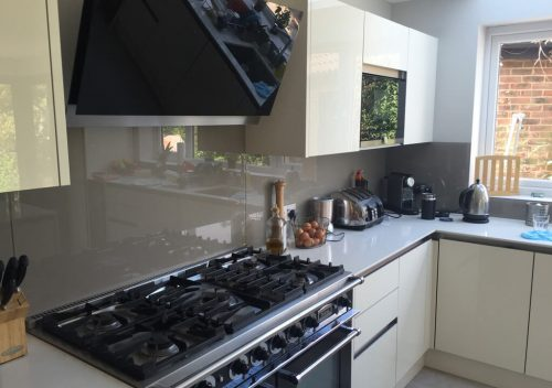 Dark grey glass splash back