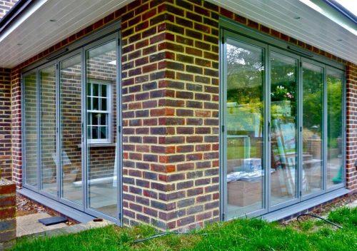 Dual grey Sunflex aluminium bifold door