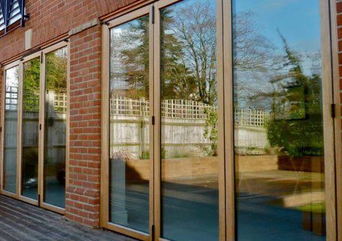 Dual timber bifold doors