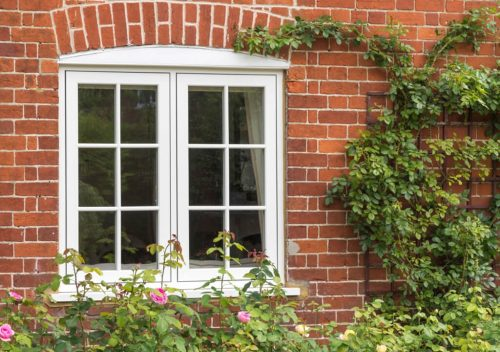 White uPVC flush sash window