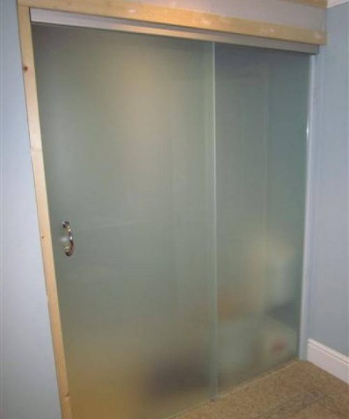 Sliding frosted glass door