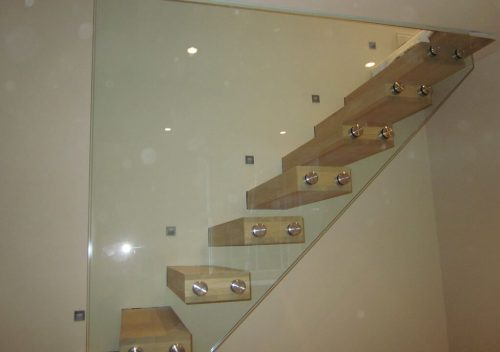 Full wall height glass balustrades