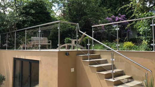 Glass Balustrade with a metal railing