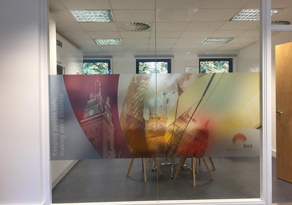 Glass partition with a printed design