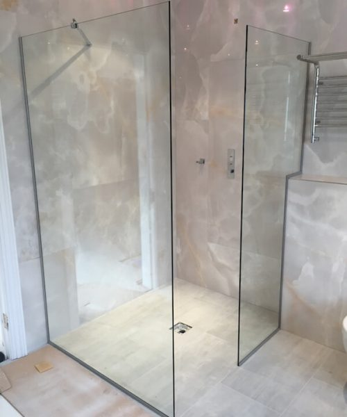 Glass walled shower