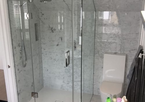 Wet room with glass walls