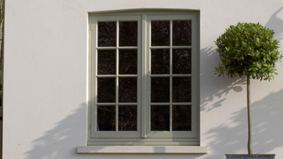 Green flush sash timber window