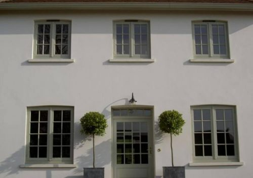 Green timber flush sash windows installation