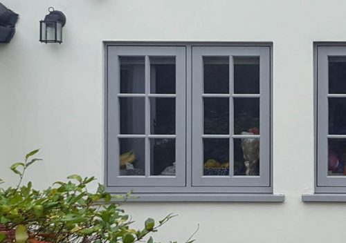 Grey uPVC flush sash window