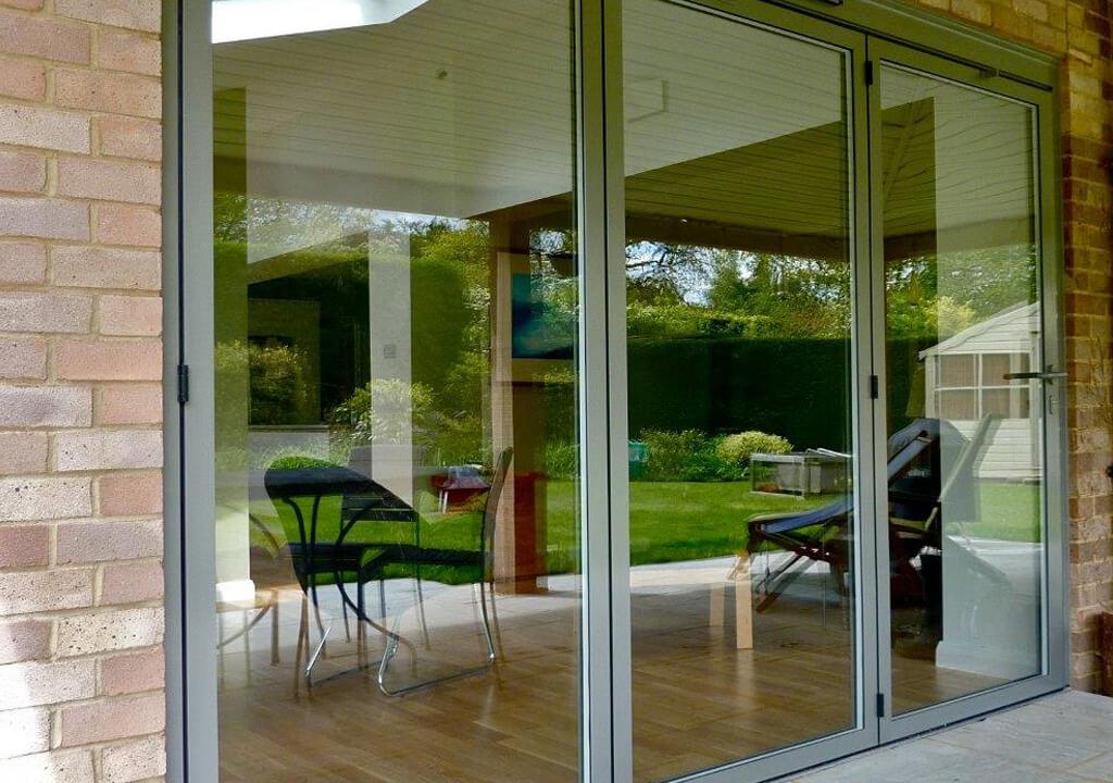 Grey aluminium Sunflex bifold door ... & Sunflex Bifold - P \u0026 P Glass
