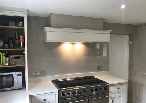 Grey kitchen glass splash back