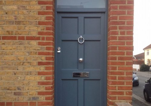 Grey timber alternative PVC entrance door