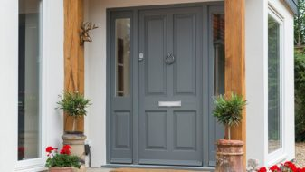 Grey timber entrance door