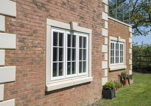 Light blue uPVC flush sash windows