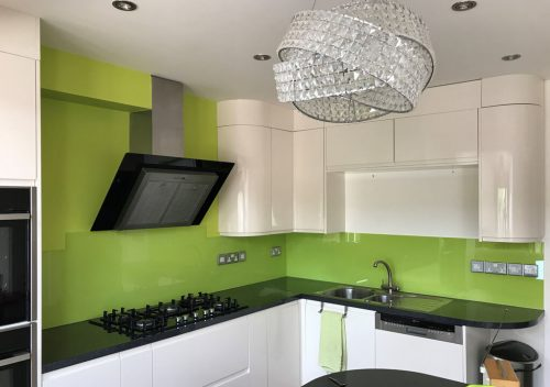 Lime green kitchen glass splash back