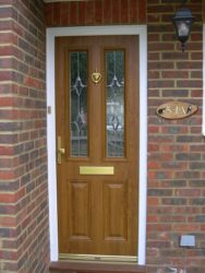 Oak effect composite entrance door