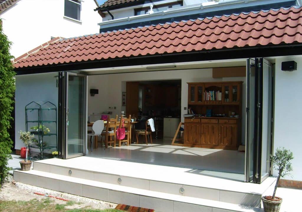 ... Open aluminium Sunflex bifold door ... & Sunflex Bifold - P u0026 P Glass