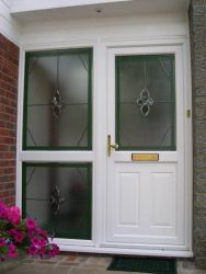 White uPVC front door with stained glass