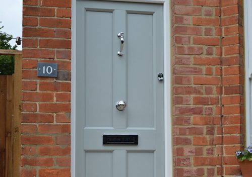 Blue PVC timber alternative entrance door