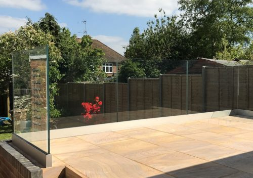 Garden patio frameless glass balustrade