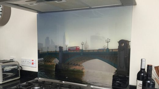 Printed glass splash back with a London design