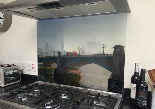 Digital printed glass splash back
