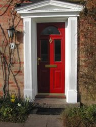 Red composite entrance door