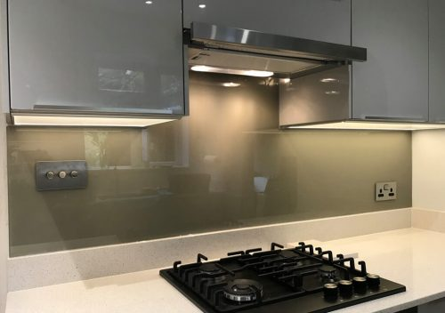 Sage green glass splash back
