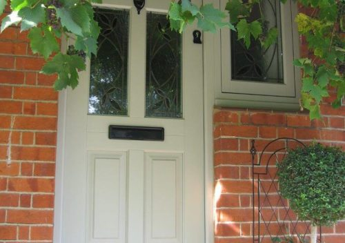 Sage green timber front door