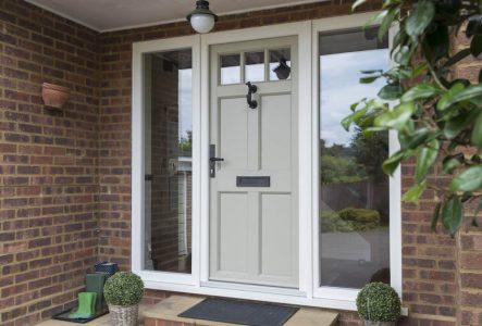 Sage green uPVC entrance door