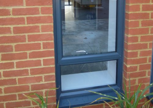 Single slimline aluminium window close up