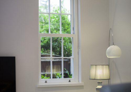 Slim uPVC sash window interior view