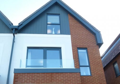 Slimline grey aluminium casement windows