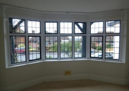Steel replacement bay window interior view