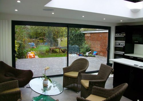 Sunflex black aluminium patio door interior view