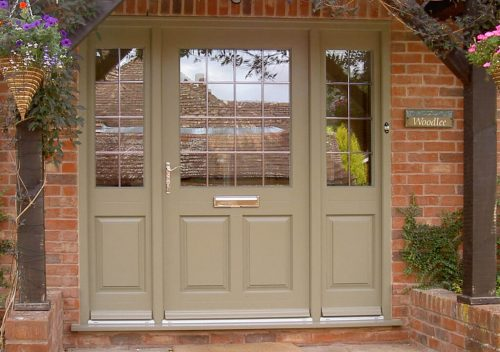Wide timber entrance door with side panels