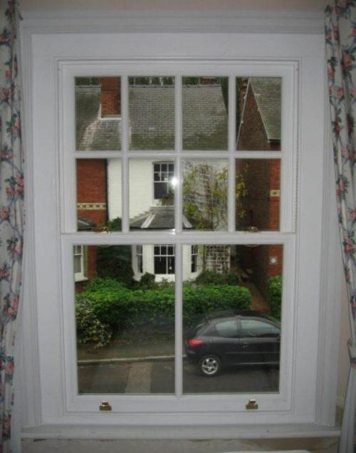 White timber sash window interior view