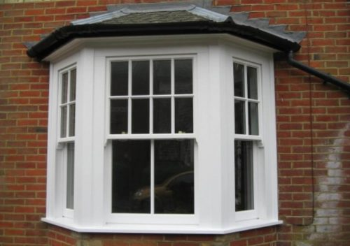 White bay timber sliding sash window